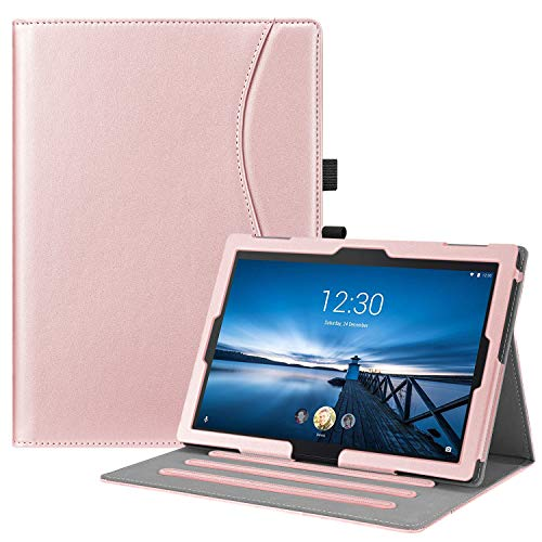 FINTIE Case for Lenovo Tab E10 TB-X104F / Tab4 10 / Tab4 10 Plus Tablet, Multi-Angle Viewing Stand Cover with Pocket and Auto Sleep/Wake, Rose Gold