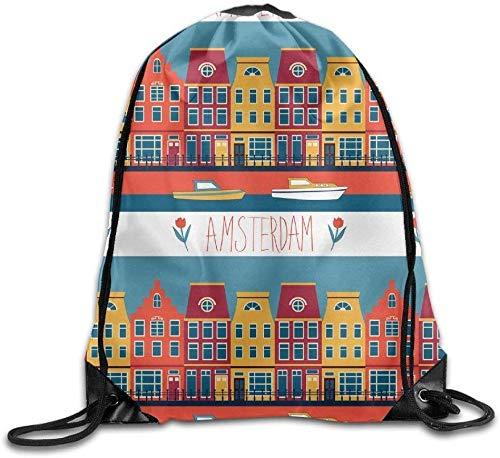 NA Kleurrijke Amsterdam Trekkoord Rugzak Reistas Gym Outdoor Sport Draagbare Trekkoord Beam Port Rugzak Voor Meisje Jongens Vrouw Vrouw