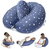 Bamibi® Pregnancy Pillow and Nursing Pillow - Multifunctional Full Body Support Maternity Pillow for Sleeping and Breastfeeding Baby with Removable 100% Cotton Cover Plus Inner Cushion (Blue - Stars)