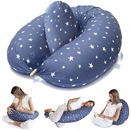 Bamibi Almohada Embarazada y Cojín Interno Multifuncional, Cojín Lactancia Bebé. Fundas de Algodón, Relleno de Poliéster. Protector Cuna, Lavable (Estrellas)