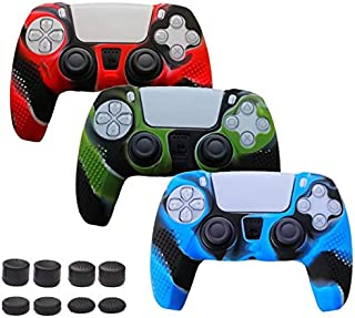 YTWQ 3 Pack Silicone Case Skin for PS5 DualSense Controller Anti-Slip Cover with 8 Thumb Grips