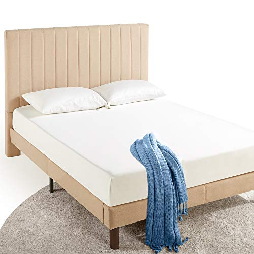 ZINUS Debi Upholstered Platform Bed Frame / Mattress Foundation / Wood Slat Support / No Box Spring Needed / Easy Assembly, Queen
