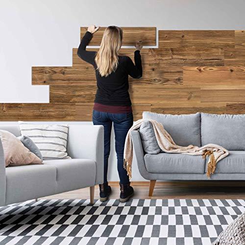 Sun Wood Stick-it Holz Wandverkleidung selbstklebend Altholz Design // Tirol 01 Wandpaneele zum Kleben Holzverblender 0,48m2 aus Fichtenholz