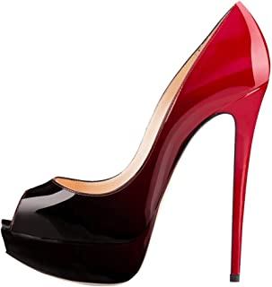 black patent high heels red sole