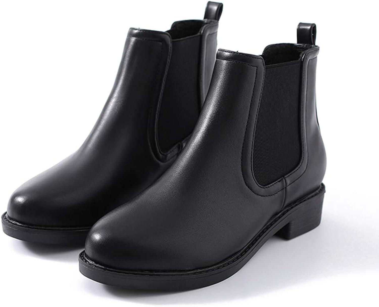 York Zhu Women's Ankle Boot,Slip-on Round Toe Autumn Winter Chelsea with Elastic