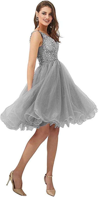 Datangep Prom Dresses High Slit V Neck Sequins Tulle Long Evening Gowns Homecoming Short