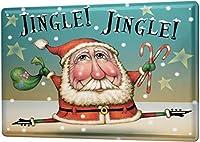 ヴィンテージレトロメタルサインクリスマスレトロサンタキャンディケイン、ヴィンテージルック再現金属金属看板壁装飾ガレージショップバーリビングルーム壁アートポスター