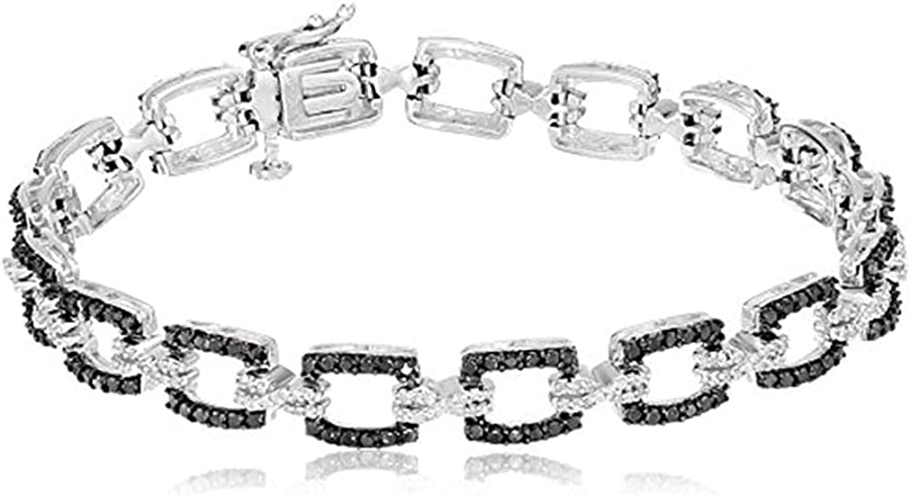 Jewelili Many popular brands Sterling Silver 1Cttw Natural Round and Dia White Nashville-Davidson Mall Black