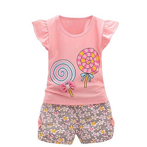 YWLINK 2PCS MäDchen Süß Outfits Lolly RüSchen KappenhüLse T-Shirt Tops + Blume Drucken Kurze Hosen Urlaub Strand Set(Rosa,100)