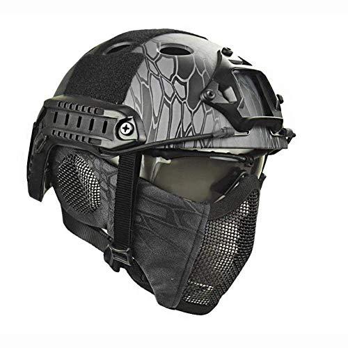 YUWJ Airsoft Paintball Schutzhelm Unisex ABS Helm Schutzhelm Jagd Freizeit Militärische Tarnung Außen Integrierter Taktischer Helm Pilot Gesichtsmaske Rüstung Dual-Purpose,Schwarz
