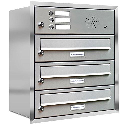 AL Briefkastensysteme, 3er Unterputzbriefkasten, Briefkasten mit Klingel, 3 Fach, Briefkastenanlage modern, rostfrei Edelstahl Postkasten