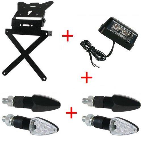 pour Suzuki RM 450 Z KIT Porte-Plaque pour Motocyclette Universel+4 FLÈCHES+Lumiere LAMPA Tous APPROUVÉ Noir