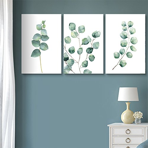 wall26 3 Panel Canvas Wall Art - Watercolor Style Tropical Plant Leaves - Giclee Print Gallery Wrap Modern Home Art Ready to Hang - 16'x24' x 3 Panels