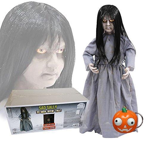 Sad Sally Horror Mädchen Puppe stehend 0,8 Meter Sound und Leuchtaugen