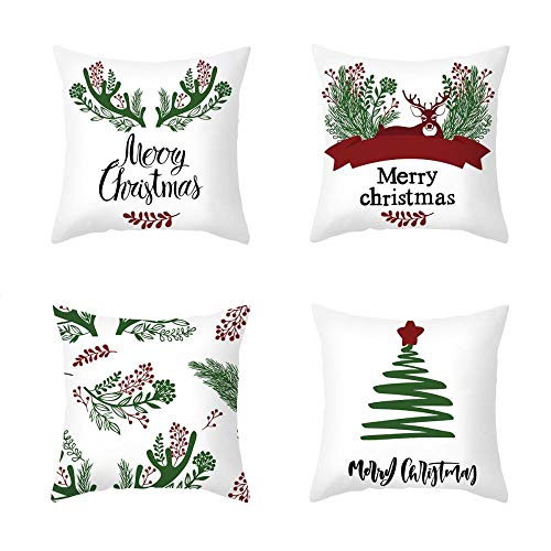 New 4 Piece Set Cartoon Printed Peach skin velvet Christmas Pillowcase Office Sofa Cushion Cover 18 X 18 Inches Cushion Cover-Style:6