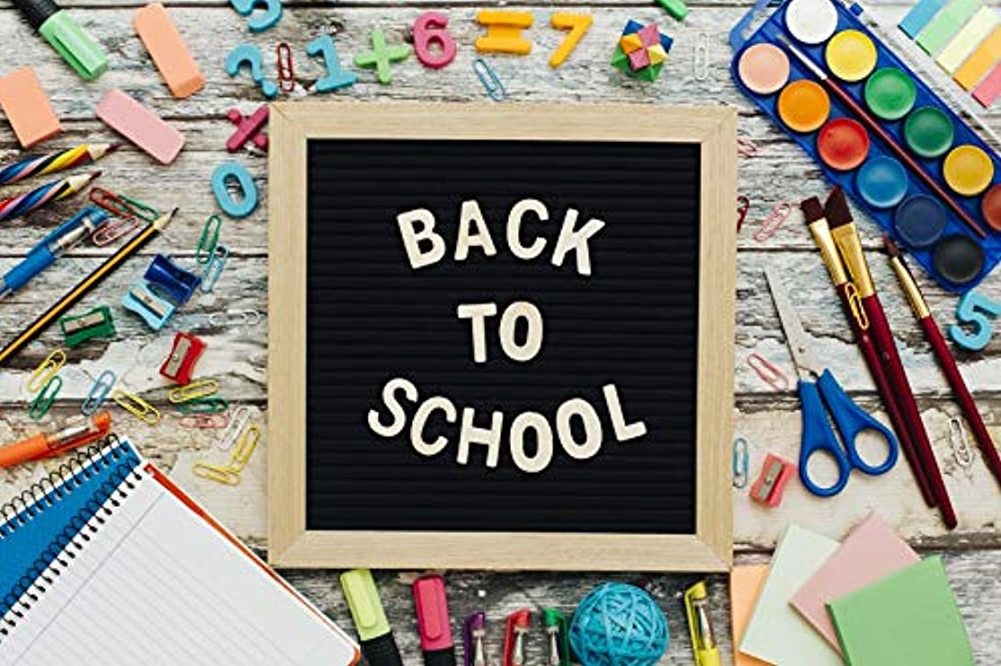Baocicco 7x5ft Back to School Backdrop White Chalk Drawing Blackboard Word Backdrop Photography Background Colorful Students Classroom Knowledge Learning Tools Children Portraits Photo Studio Video