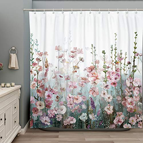 SUMGAR Blumen Duschvorhang Bunte quadratische Badezimmervorhänge Moderne Floral Dekorative Rosa Blumenblüten Badevorhänge Mehrfarbiges Polyester Wasserdicht mit 12 weißen Vorhangringen 180x200cm