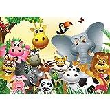 Vlies Fototapete 208x146cm PREMIUM PLUS Wand Foto Tapete Wand Bild Vliestapete - Kindertapete Tapete Comic Tiere Zootiere Zoo Elefant Löwe Schlange bunt - no. 2830
