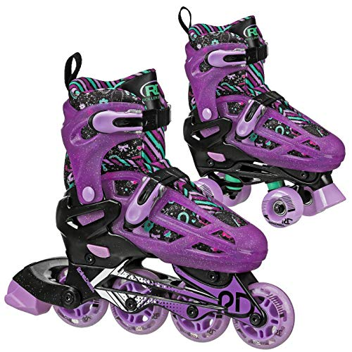 Roller Derby Lomond Girls Adjustable Inline-Quad Combo Skates - Great for Beginners! (3-6)