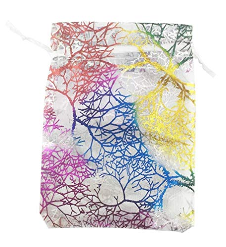 SumDirect 100 Stücke 9x12 cm Coralline Muster Kordelzug Organza Schmuckbeutel Hochzeit Weihnachten Favor Geschenk Taschen (Rosa)