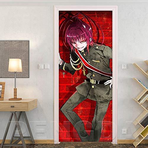 YIER LIFE™ 3D Türaufkleber Roter Anime Junge Samurai Türtapete selbstklebende TürPoster Fototapete Türfolie Poster Tapete Meer Aufkleber DIY Wandbild PVC Wasserdichte Abnehmbar Wandtapete fü 88X200CM