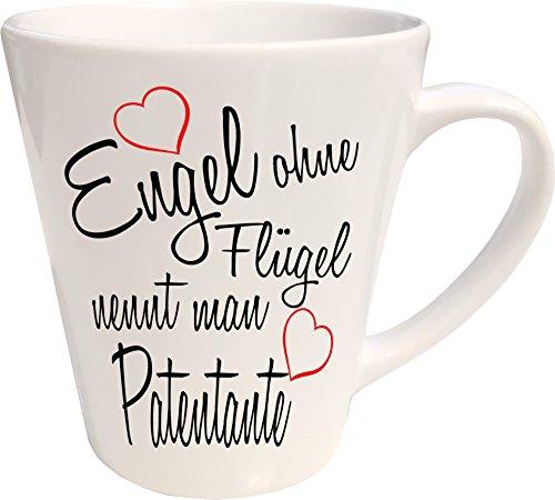 Mister Merchandise Kaffeebecher Latte Tasse Engel ohne Flügel nennt Man Patentante Schwanger Baby Pate Beste Freundin Tantchen Schwester Milchkaffee Becher konisch Weiß