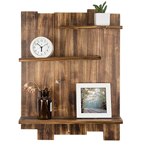 MyGift 3-Tier Dark Brown Wood Pallet-Style Decorative Wall Mounted Display Shelf