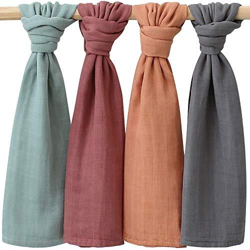 LifeTree Baby Mulltücher, 4 Stück 60x60 cm Musselin Tücher Swaddle Decke, Aufstoßen Tuch, Pucktücher für Junge und Mädchen