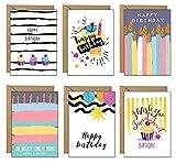 48 tarjetas de cumpleaños ecológicas – 6 diseños impresos en cartón reciclado y con sobres reciclados Kraft