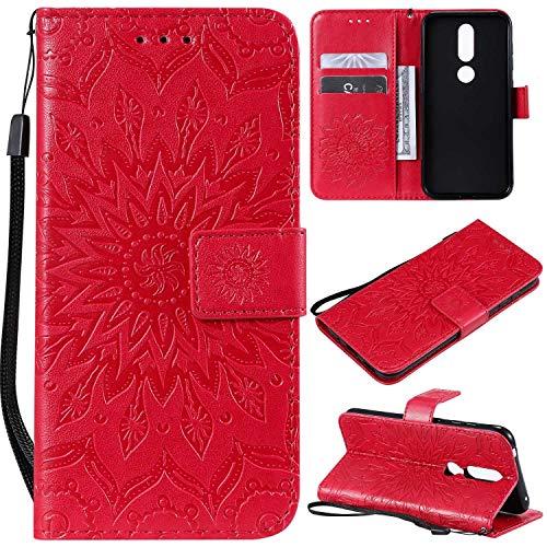 KKEIKO Hülle für Nokia 4.2, PU Leder Brieftasche Schutzhülle Klapphülle, Sun Blumen Design Stoßfest Handyhülle für Nokia 4.2 - Rot