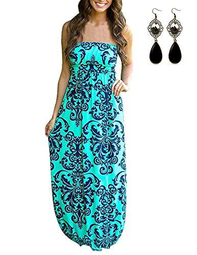 carinacoco Damen Bandeau Bustier Kleider mit Blüte Drucken Lange Sommerkleid Abendkleid Partykleid Cocktailkleid Grün Geblümt10