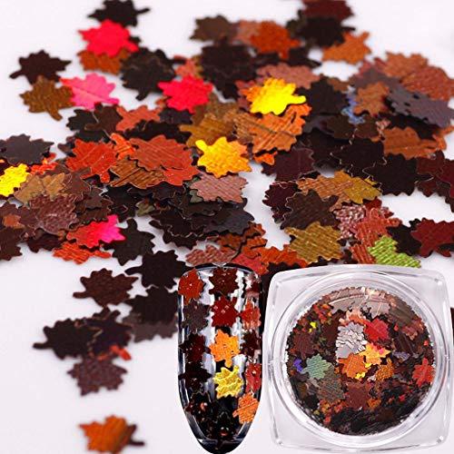 greenwoodhomer Metallisches Ahornblatt-Nagelglitzer-Puder, glitzerndes Design, Nagelpolieren, Maniküre, Nagelkunst, Chrom-Pigment, DIY-Nagelkunst-Dekoration