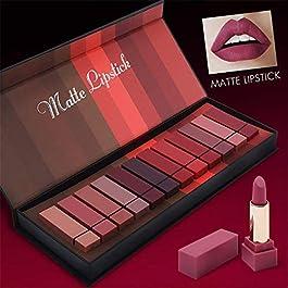 12 Colors Waterproof Long Lasting Durable Matte Lipstick Sexy Moisturizing Lipstick Lip Gloss Set with Gift Box