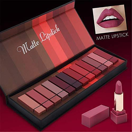 12 Farben Matte Lippenstift Set, Perbeauty Wasserdicht Matte Nude Lipstick Schönheit Lippe Gloss,...