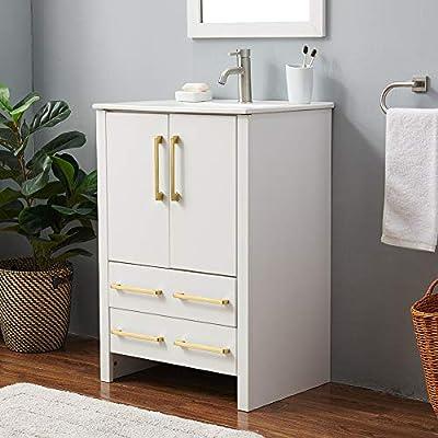 24 inch Modern Small White Bathroom Vanity, Bathroom Vanity and Sink Combo,White Wood Bath Vanity with Sink,Bathroom Vanity Cabinet with Large Storage 2 Door 2 Drawer.