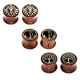 JSDDE Piercing,6er Set Sono Holz Double Flared Sattel Tunnel Plugs Lebensbaum Löwenkopf Anker Ohrstecker Ohrpiercing,12mm