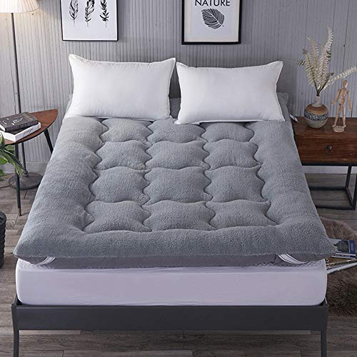 DAPAIZI Thickened Lamb Cashmere Tatami Floor Mat, Folding Lamb Velvet Mattress Pad Double Bed,Breathable Skin-friendly Mattress Topper.100% Microfiber Filling. (Grey,1.0x2.0m)