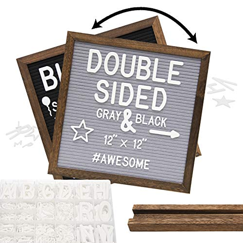 Rustic Wood Frame Gray Felt Letter Board 12x12 inches. Dark Brown. Pre-Cut White Letters. Additional Symbols & Emojis, Letter Storage Case, Vintage Farmhouse Block Stand
