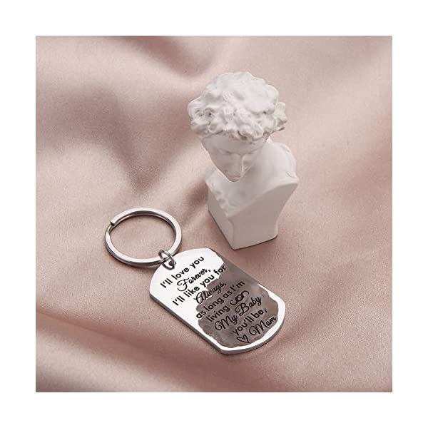 Daughter Son Gifts Keychain to From Mom Dad- Birthday Christmas Day Present Encouragement Keyring to Teen Girls- I Will Love You Forever -Family Pendant Charm Mothers Day Wedding