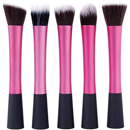5 Maquillage Pinceaux Fondation rond, tête plate, conique et l'angle - Poils Synthétiques, Poignée En Aluminium - Noir et Rose by DELIAWINTERFEL