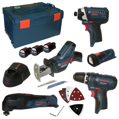 Preisvergleich Produktbild Bosch 0615990ex4 Professional Kit von 5 Instrumente (Limited Edition,  GSR,  GOP,  GLI,  GDR,  GSR,  inkl. 3 Akkus 10, 8 V 1, 5 Ah und Ladegerät AL1130CV in L-Boxx Gr. 3)