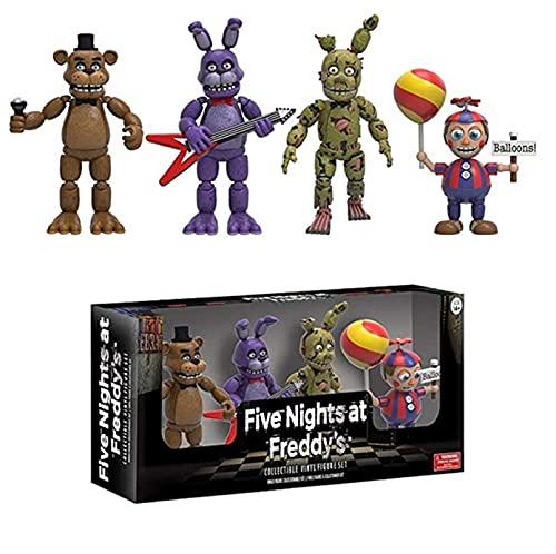 qinhuang Five Nights At Freddy'S 4 Piezas, Freddy Balloon Boy Springtrap Bonnie Figura De Acción...