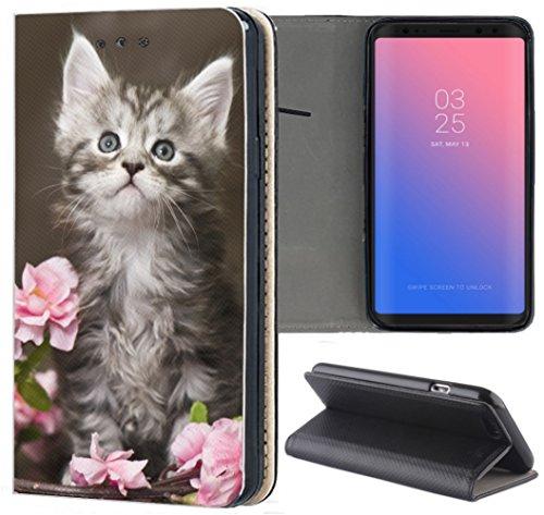 Samsung Galaxy S3 / S3 Neo Hülle Premium Smart Einseitig Flipcover Hülle Samsung S3 Neo Flip Case Handyhülle Samsung S3 Motiv (1251 Baby Katze Kätzchen Grau Weiß)