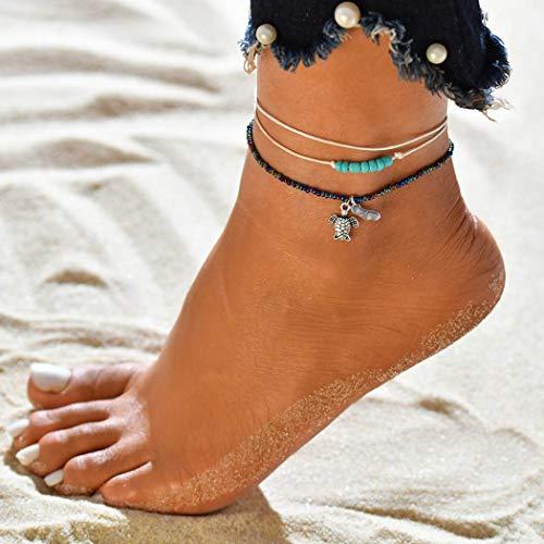 Ushiny Boho enkel armband met schildpad strand turquoise enkel zilver kralen voet accessoires voor vrouwen en meisjes