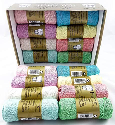 ▷ Pack de 16 Zepelines Ne 5/2 surtido colores claros de algodón perlé 100% egipcio mercerizado para tejer labores de ganchillo o punto con un acabado elegante.