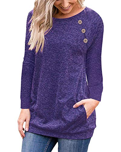 Purple Women's Casual Long Sleeve Button T-Shirt Tunic Top Solid Blouse Pockets