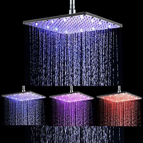 Ehauuo LED Shower Head 12 Inch Square All Chrome Water Temperature Controlled 3 Colors Lights Changing automatically Water Rainfall High-Pressure Bathroom Shower Head