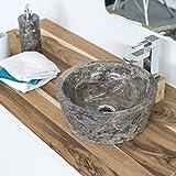 wohnfreuden Marmor Waschbecken 30 cm grau  rund poliert  Steinwaschbecken oder Naturstein Aufsatzwaschbecken für Bad Gäste WC  inkl. techn. Zeichnung  schnell & versandkostenfrei