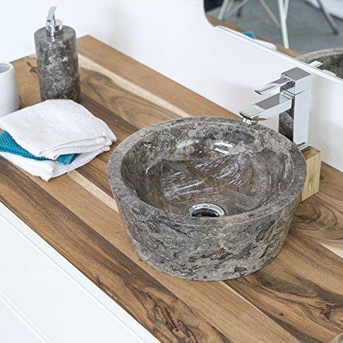 wohnfreuden Marmor Waschbecken 30 cm grau ✓ rund poliert ✓ Steinwaschbecken oder Naturstein Aufsatzwaschbecken für Bad Gäste WC ✓ inkl. techn. Zeichnung ✓ schnell & versandkostenfrei ✓