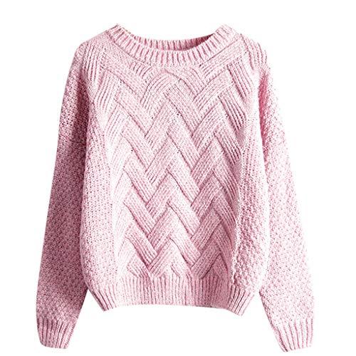 suéter de Mujer de Manga Larga Casual Color sólido otoño Invierno Tejer...